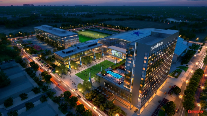 Depiction of new luxurious Omni Hotel at the Dallas Cowboys headquarters development in Wade Park Frisco just north of West Plano | Dallas Morning News